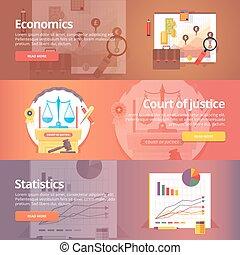 economics., libéral, civil, sciences., set., justice., politique, law., economy., art., vecteur, conception, concept., science, tribunal, bannières, education, exact, étude, statistics., social