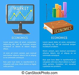 Economics Market Poster with Screen Showing Arrow