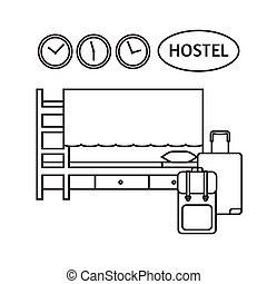 Faciliteiten, motel, hotelkamer. Set, kamer, iconen, motel ...