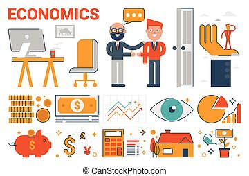 economie, infographic, communie, en, iconen