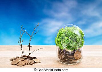 economie, onder, de, bescherming, groene