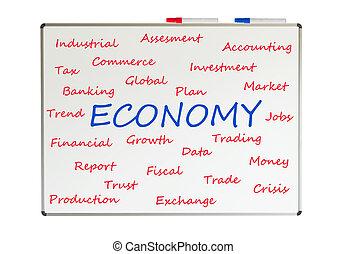 economie, woord, wolk