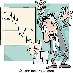 economisch, crisis, illustratie, spotprent