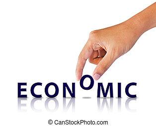 economisch, woord, hand