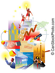 Economy and Future - An illustration of global economy and...