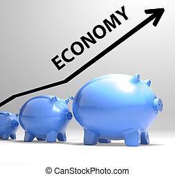 Economy Arrow Means Economic System And Finances - Economy...