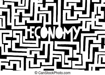 Economy as a complex maze or problem