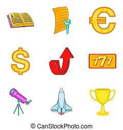 Economy coaching icon set, cartoon style