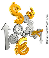 economy cogs currency up and down - economy metal cogs and...