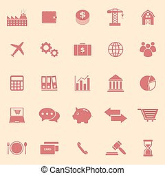 Economy color icons on yellow background