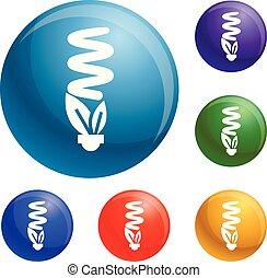 Economy eco bulb icons set vector