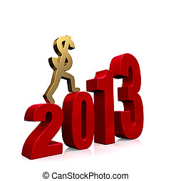 Economy Improves in 2013 - A gold dollar sign climbing red...