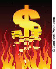 Economy in flames - A US dollar sign breaks apart in fire