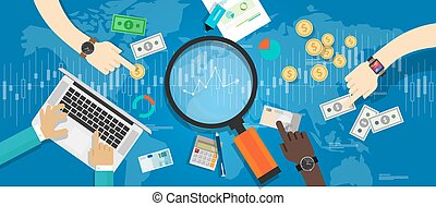 economy indicator market trend finance in business and stock