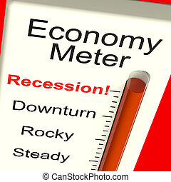 Economy Meter Showing Recession and Downturn - Economy Meter...