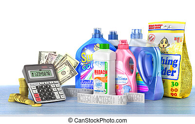 Economy on a detergents. Set of bottles of detergents and washing powders with a long shopping receipt, money and calculator. 3d illustration