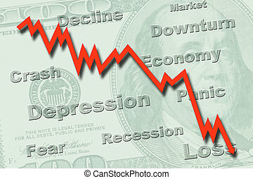 Downtrend graph on a US hundred dollar note, indicating economy recession