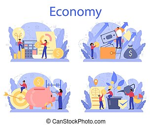 Economy school subject concept set. Student studying ...