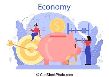 Economy school subject concept. Student studying economics ...