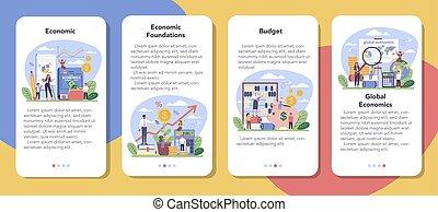 Economy school subject mobile application banner set. ...