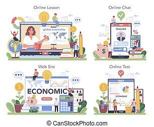Economy school subject online service or platform set. ...