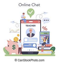 Economy school subject online service or platform. Student ...