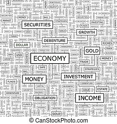 ECONOMY. Seamless pattern. Word cloud illustration.