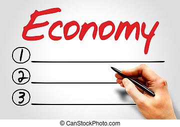 ECONOMY blank list, business concept