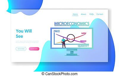 Economy Studying Landing Page Template. Tiny Male Character ...