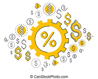 Economy system and business concept, gear mechanism with ...
