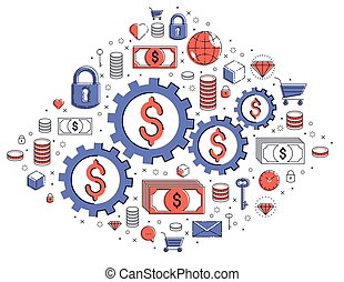 Economy system and business concept, gears and cogs ...