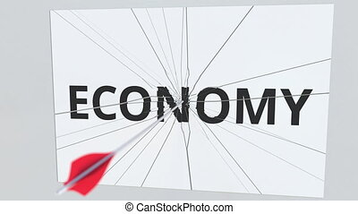 ECONOMY text plate being hit by archery arrow. Conceptual 3D...