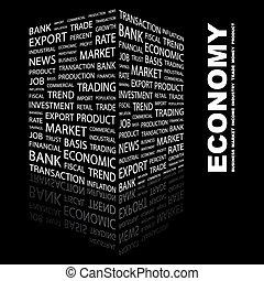 ECONOMY. Word cloud concept illustration. Wordcloud collage.