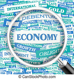ECONOMY. Word cloud concept illustration. Wordcloud collage.