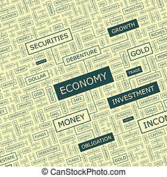 ECONOMY. Word cloud illustration. Tag cloud concept collage.