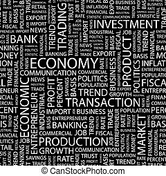 ECONOMY. Word cloud illustration. Tag cloud concept collage...