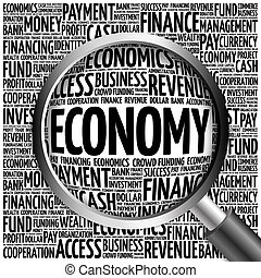 ECONOMY word cloud with magnifying glass