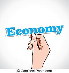 Economy word in hand