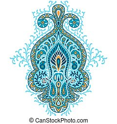 ecorative, ornament., elemento, indio, étnico, dibujado,...