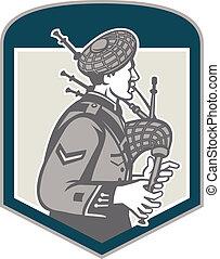 ecossais, joueur cornemuse, cornemuse, retro, crête, jouer