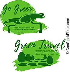 Ecotourism and go green symbol for travel design