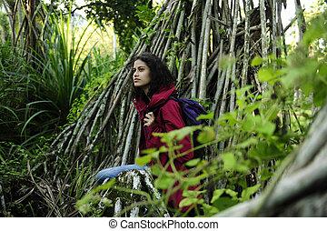 ecotourism:, femininas, hiker, explorar, selva, de, floresta...