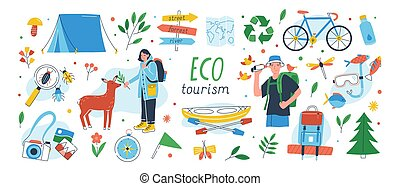 Ecotourism set. Collection of eco friendly tourism design...