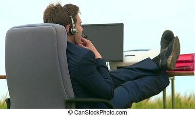 ecouteur portant, business, conversation, personne, pendant, voip