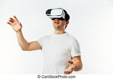 ecouteur portant, réalité virtuelle, t-shirt, blanc, homme, 3d