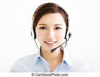ecouteurs, femme souriante, agent, business