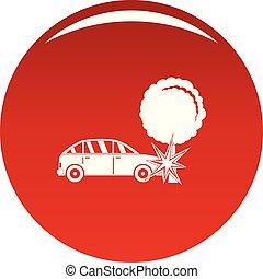 ecrasé, vecteur, arbre, rouges, icône