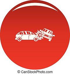 ecrasé, voiture, vecteur, rouges, icône
