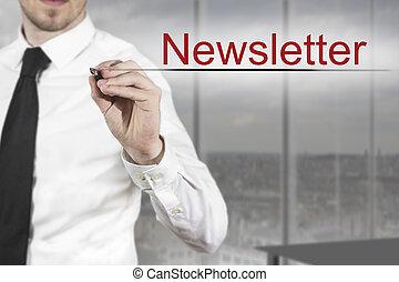 ecriture homme affaires, newsletter, air