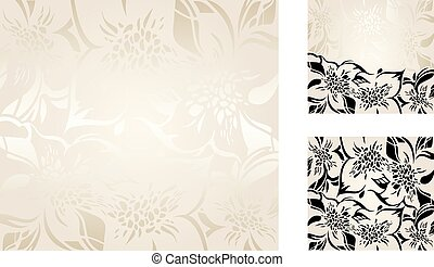 Ecru floral decorative holiday background set with silver and black ornaments